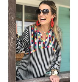 Black Muti Stripe Color Block Long Sleeve