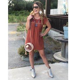 Rust Multi Embroidered Dress