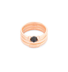 Kendra Scott Ellms Ring Set in Rose Gold Black Granite- 7