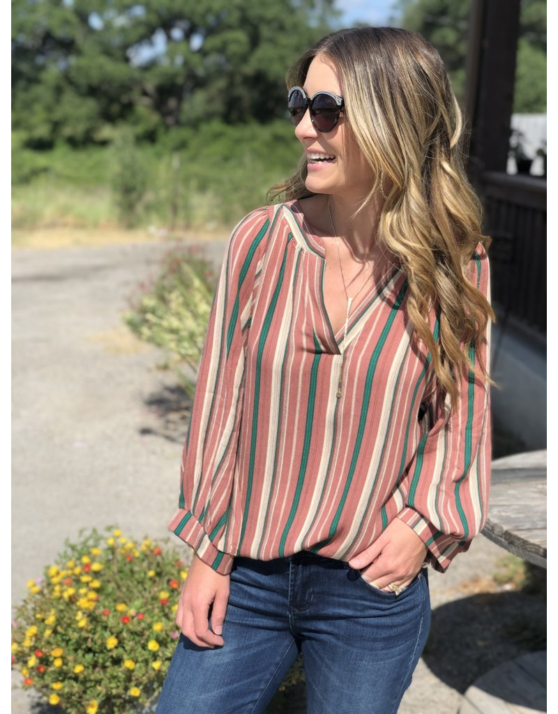 Mauve & Green Wide Sleeve Striped Top