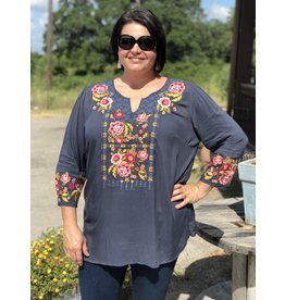 Charcoal Top with Embroidery Front & Sleeve