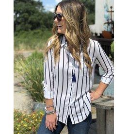 White w/Navy Stripes L/S Shirt