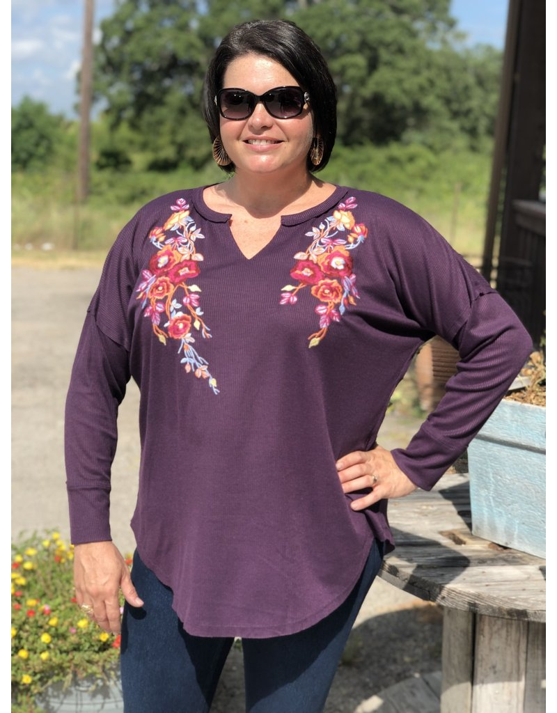 Plum Embroidered + Waffle Long Sleeve Top