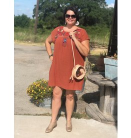 Rust + Embroidered Dress