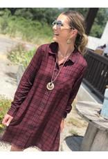 Burgundy & Black Plaid Button Down Dress