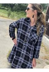 Black & White Plaid Button Down Dress