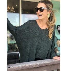 Hunter Green Open Weave Sweater 1 Size