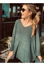 Hunter Green Open Weave Sweater 1 Size