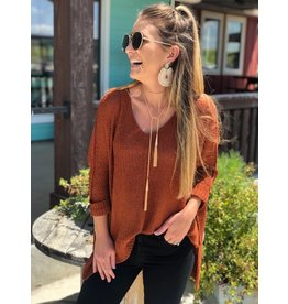 Rust Open Weave One Size Sweater