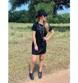 Faux Suede Shift Dress in Black