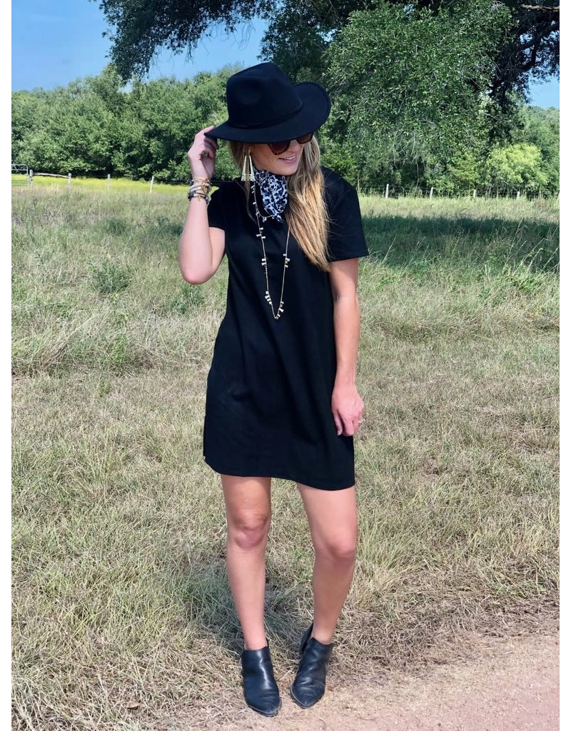 Faux Suede Shift Dress in Black
