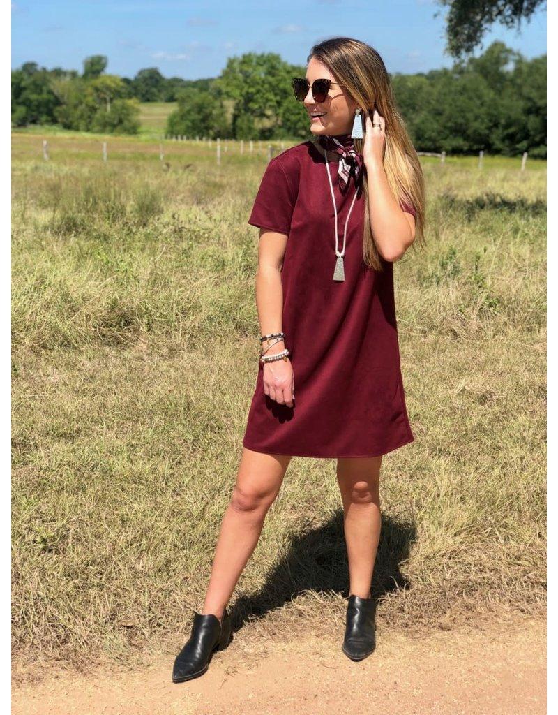 Faux Suede Shift Dress in Wine