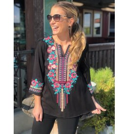 Black w/Teal and Pink Floral Embroidered Top
