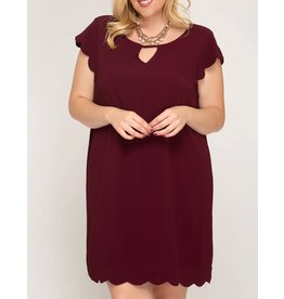 Sheath + Dress with Scalloped Edges in Wine