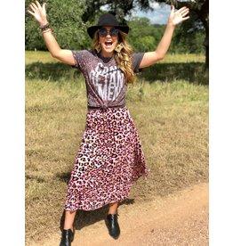 Pink Leopard Print Pleated Skirt