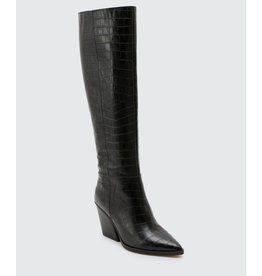 Dolce Vita Isobel Tall Black Croc Print Leather Boots