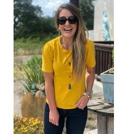 Able Renuka Puff Sleeve Tee - Mustard