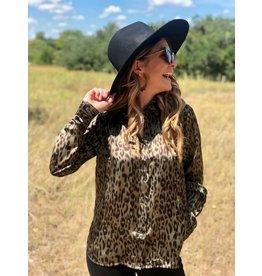 Olive Leopard Satin Button Up Shirt
