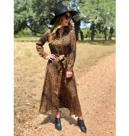 Leopard Button Down Dress with Tie