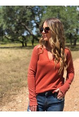 Rust Thermal V-Neck Sleeve Detail Top
