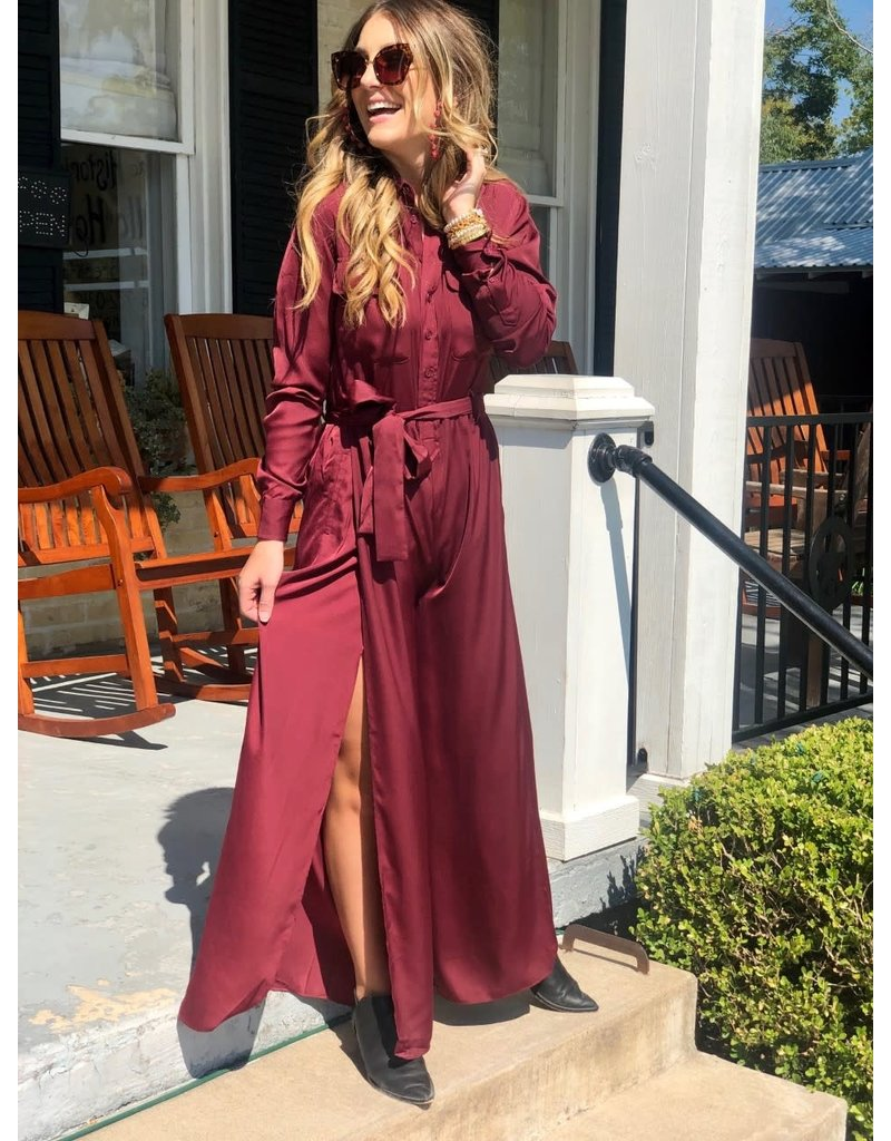 Burgundy Button Down Jumpsuit w/Tie