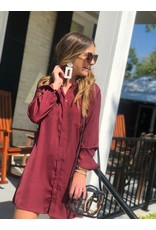 Button Down Dress in Burgundy