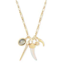Kendra Scott Samuel Multi Charm Necklace Gold Dichroic Mix