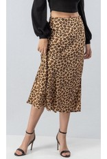 High Waist Leopard Flare Satin Skirt