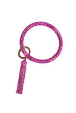SS Bangle Key Ring Pink Scales