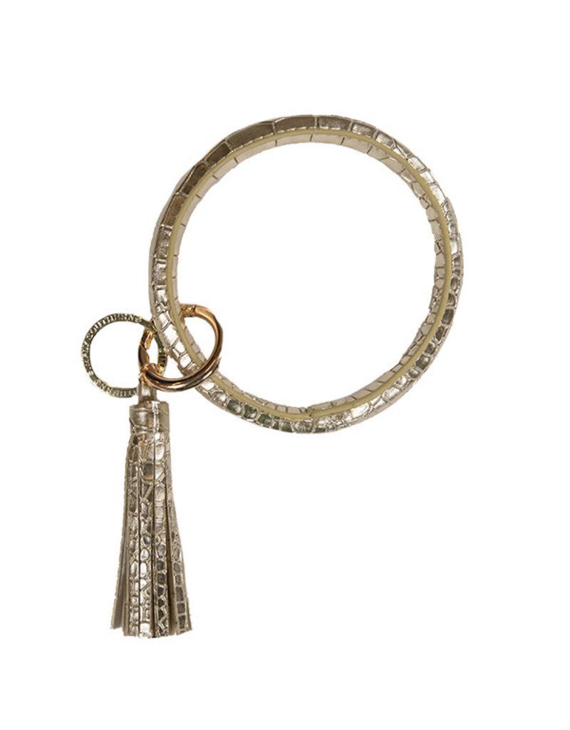 SS Bangle Key Ring Alligator Gold