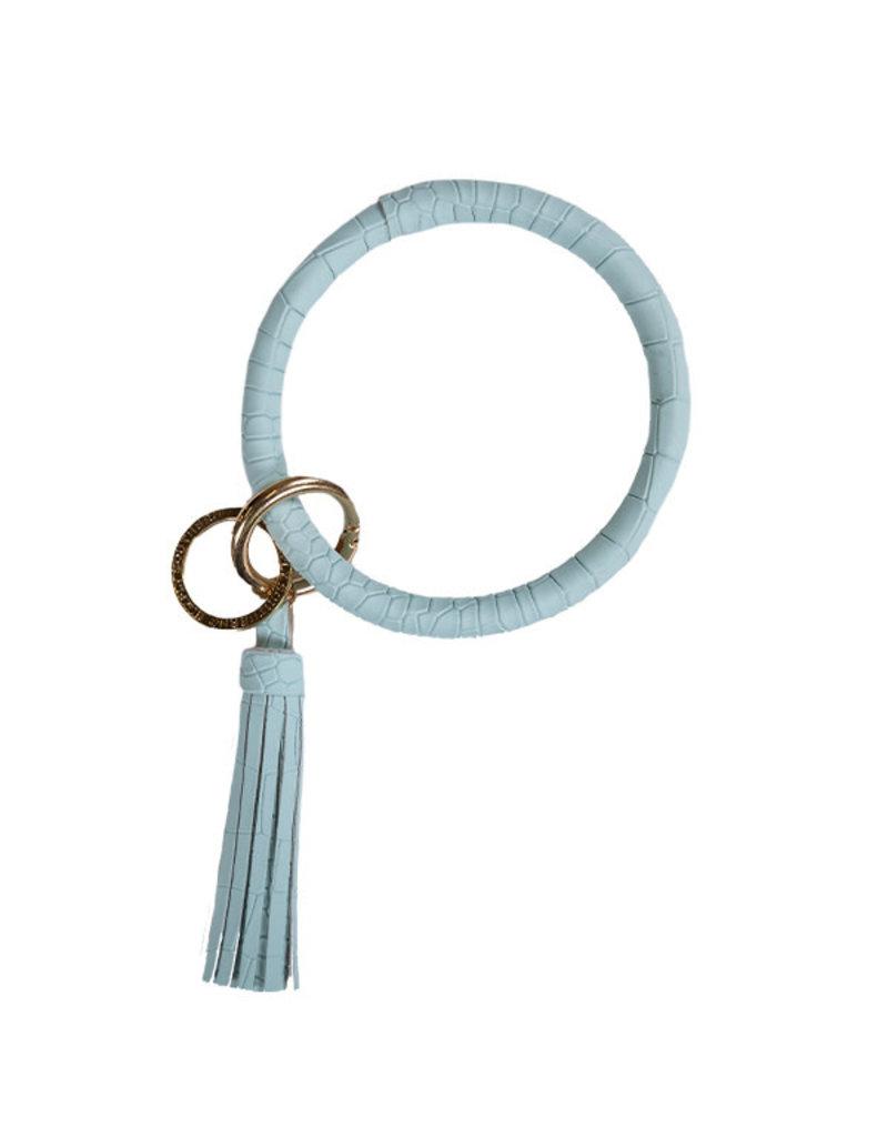 SS Bangle Key Ring Alligator Blue