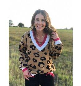 Mocha Hot Pink V Neck Leopard Sweater