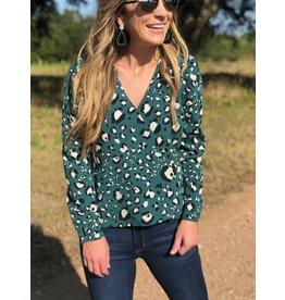 Ivy Green Leopard Blouse