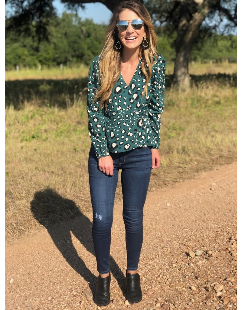 Ivy Green Leopard Blouse