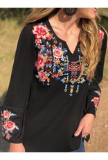 Waffle Knit Multi Floral Embroidered Top in Black