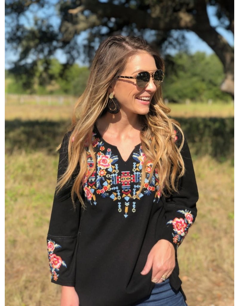 Waffle Knit Multi Floral Embroidered + Plus Top in Black