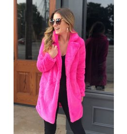Buddy Love Electric Pink Faux Fur Coat
