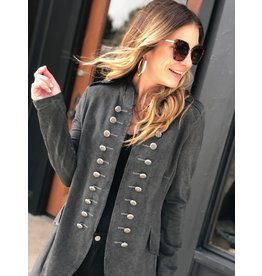 Charcoal Black Button Coat