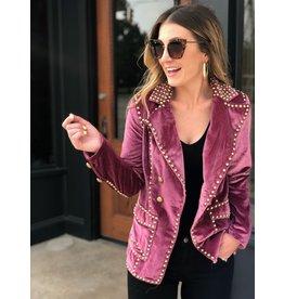 Magenta Velvet Studded Jacket