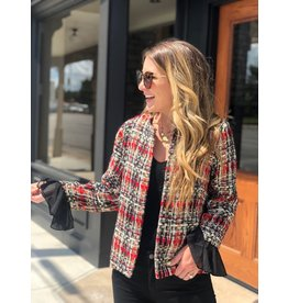 Multi Color Tweed Jacket with Ruffle Sleeve