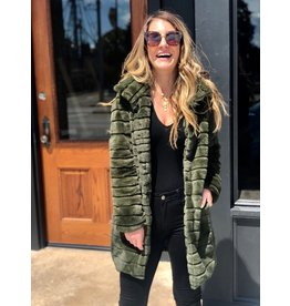 Buddy Love Olive Faux Fur Jacket