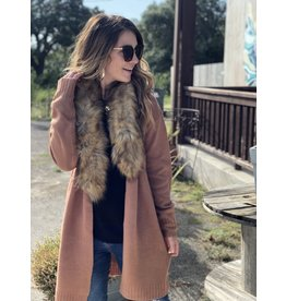 Mocha Cardigan with Faux Fur Collar