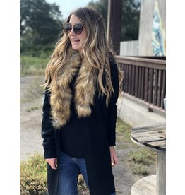 Black Cardigan with Faux Fur Collar