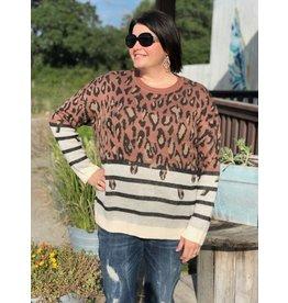 + Rust Stripe Leopard Sweater
