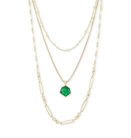 Kendra Scott Vanessa Multi Strand Necklace Gold Jade Illusion