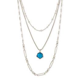 Kendra Scott Vanessa Multi Strand Necklace Silver Peacock Illusion