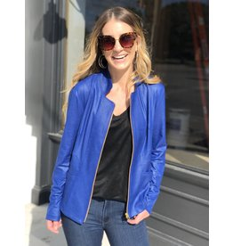 Cobalt Blue Leather Zip Jacket