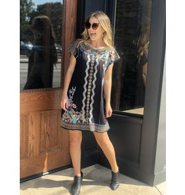 Multi Floral Embroidered Dress in Black