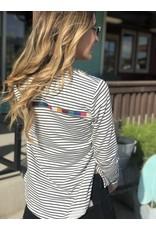 White Black Stripe L/S Color Block Top