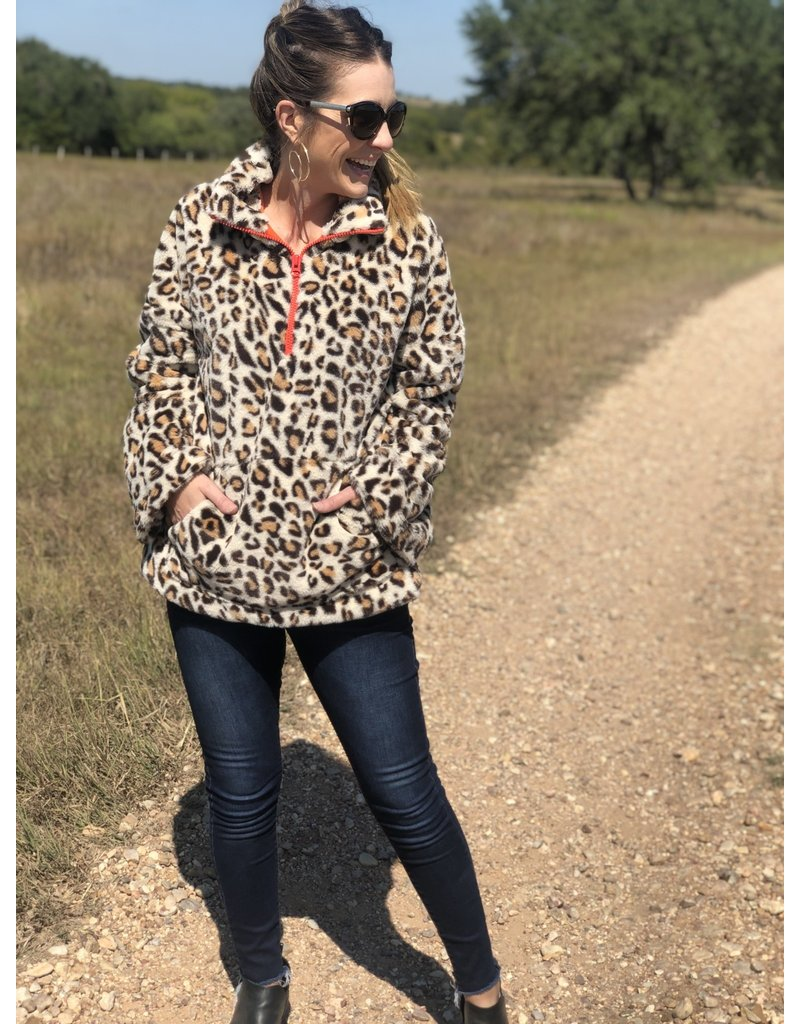 Leopard Fur w/Orange Lining & Zipper Jacket